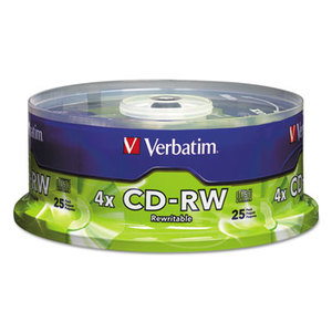 Verbatim America, LLC 95169 CD-RW Discs, 700MB/80min, 4X, Spindle, Matte Silver, 25/Pack by VERBATIM CORPORATION