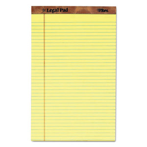 Tops Products 7572 The Legal Pad Ruled Perf Pad, Legal/Wide, 8 1/2 x 14, Canary, 50 Sheets, Dozen by TOPS BUSINESS FORMS