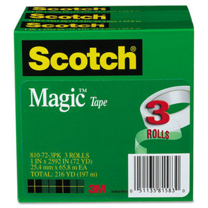 """3M 810-72-3PK Magic Tape, 1"""" x 2592"""", 3"""" Core, 3/Pack by 3M/COMMERCIAL TAPE DIV."""