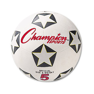 CHAMPION SPORTS SRB5 Rubber Sports Ball, For Soccer, No. 5, White/Black by CHAMPION SPORT
