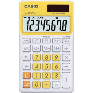 Casio Computer Co., Ltd SL-300VC-YW SL-300VC Basic Handheld Calculator (Yellow)