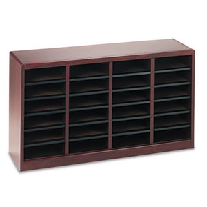 Safco Products 9311MH Wood/Fiberboard E-Z Stor Sorter, 24 Sections, 40 x 11 3/4 x 23, Mahogany by SAFCO PRODUCTS