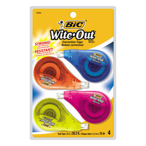 "BIC WOTAPP418 Wite-Out EZ Correct Correction Tape, Non-Refillable, 1/6"" x 400"", 4/Pack by BIC CORP."