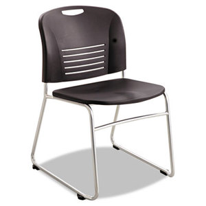 Safco Products 4292BL Vy Series Stack Chairs, Plastic Back/Seat, Sled Base, Black, 2/Carton by SAFCO PRODUCTS