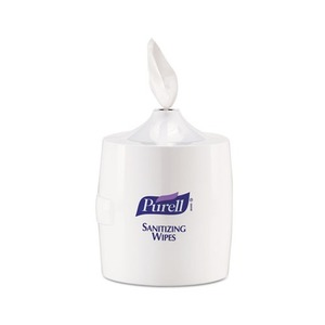 Hand Sanitizer Wipes Wall Mount Dispenser, 1200/1500 Wipe Capacity, White by GO-JO INDUSTRIES