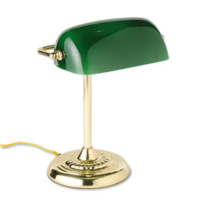 "Traditional Incandescent Banker's Lamp, Green Glass Shade, 14""h, Brass Base by LEDU CORP."