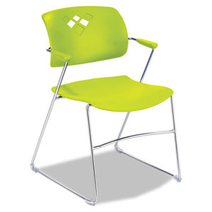 Safco Products 4286GS Veer Series Stacking Chair With Arms, Sled Base, Grass/Chrome, 4/Carton by SAFCO PRODUCTS