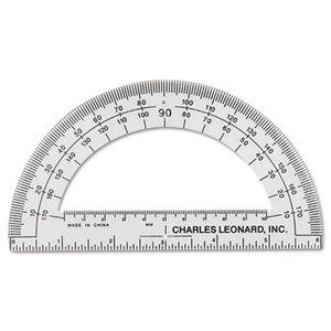 "Charles Leonard, Inc 77106 Open Center Protractor, Plastic, 6"" Ruler Edge, Clear, Dozen by CHARLES LEONARD, INC"