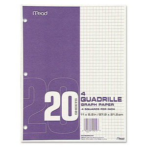 MeadWestvaco 19010 Quadrille Graph Paper, Quadrille (4 sq/in), 8 1/2 x 11, White, 12 Pads/Pack by MEAD PRODUCTS