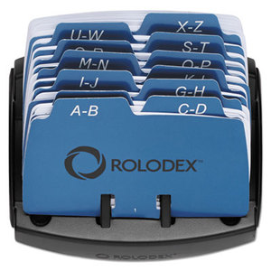 ROLODEX 67060 Petite Open Tray Card File Holds 125 2 1/4 x 4 Cards, Black by ROLODEX