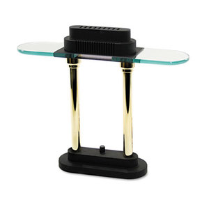 "Halogen Desk Lamp, Glass Shade, 15"" High, Black Base by LEDU CORP."