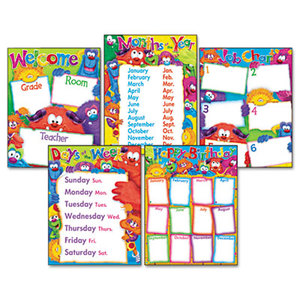 Learning Chart Combo Pack, Furry Friends Classroom Basics, 17w x 22, 5/Pack by TREND ENTERPRISES, INC.