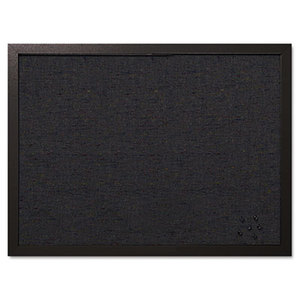 Designer Fabric Bulletin Board, 24X18, Black Fabric/Black Frame by BI-SILQUE VISUAL COMMUNICATION PRODUCTS INC
