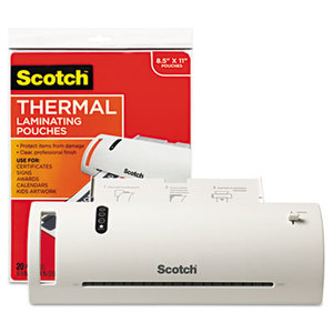 """3M TL902VP Thermal Laminator Value Pack, 9"""" W, with 20 Letter Size Pouches by 3M/COMMERCIAL TAPE DIV."""