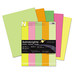 Neenah Paper, Inc 20260 Astrobrights Colored Paper, 24lb, 8-1/2 x 11, Neon Assortment, 500 Sheets/Ream by NEENAH PAPER
