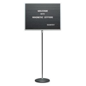 Adjustable Single-Pedestal Magnetic Letter Board, 24 x 18, Black, Gray Frame by QUARTET MFG.