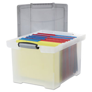 Storex 61530U01C Portable File Tote w/Locking Handle Storage Box, Letter/Legal, Clear by STOREX