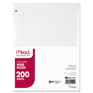 MeadWestvaco 15200 Filler Paper, 15-lbs., Wide Ruled, 3-hole punched, 10-1/2 x 8, 200 Sheets/Pack by MEAD PRODUCTS