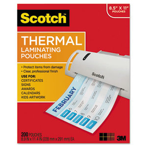 3M TP3854200 Letter Size Thermal Laminating Pouches, 3 mil, 11 2/5 x 8 9/10, 200 per Pack by 3M/COMMERCIAL TAPE DIV.