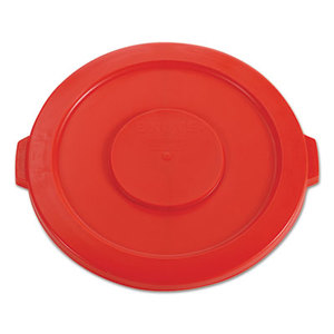 """Round Flat Top Lid, for 32-Gallon Round Brute Containers, 22 1/4"""", dia., Red by RUBBERMAID COMMERCIAL PROD."""