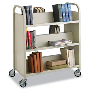 Steel Book Cart, Six-Shelf, 36w x 18-1/2d x 43-1/2h, Sand by SAFCO PRODUCTS