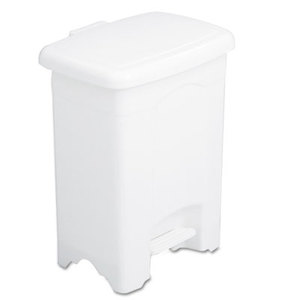 Safco Products 9710WH Step-On Receptacle, Rectangular, Plastic, 4gal, White by SAFCO PRODUCTS