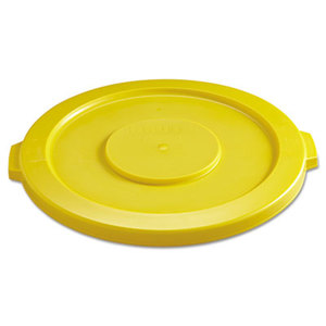 """Round Flat Top Lid, for 32-Gallon Round Brute Containers, 22 1/4"""", dia., Yellow by RUBBERMAID COMMERCIAL PROD."""
