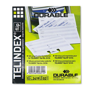 TELINDEX Flip Address Card Refills, 4 1/8 x 2 7/8 Cards, Gray/White, 100/Pack by DURABLE OFFICE PRODUCTS CORP.