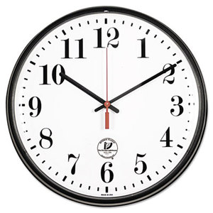 """Atomic Slimline Contemporary Clock, 12-3/4"""", Black by CHICAGO LIGHTHOUSE FOR THE BLIND"""