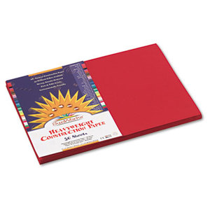 Construction Paper, 58 lbs., 12 x 18, Holiday Red, 50 Sheets/Pack by PACON CORPORATION