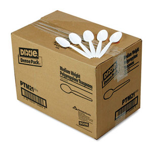 DIXIE FOOD SERVICE PTM21 Plastic Cutlery, Mediumweight Teaspoons, White, 1000/Carton by DIXIE FOOD SERVICE