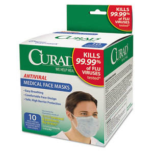Medline Industries, Inc CUR384S Antiviral Medical Face Mask, Pleated, 10/Box by MEDLINE INDUSTRIES, INC.
