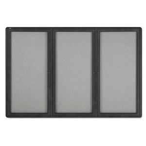 Quartet 2367L Enclosed Fabric-Cork Board, 72 x 48, Gray Surface, Graphite Aluminum Frame by ACCO BRANDS, INC.