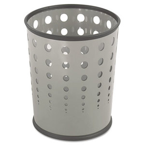 Safco Products 9740GR Bubble Wastebasket, Round, Steel, 6gal, Gray by SAFCO PRODUCTS