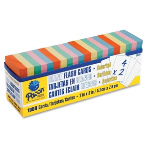 "PACON CORPORATION 74170 Blank Flash Cards, 2""x3"", 1000/PK, Assorted Colors by Pacon"