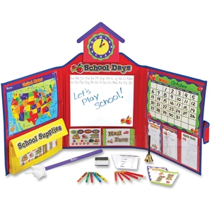 """LEARNING RESOURCES/ED.INSIGHTS LER2642 Playing school is fun and prepares kids for learning. Here s everything you need for the ultimate pretend classroom: grade book, stickers, hall passes, clock, bell, dry erase board, calendar, map, pointer and much more in a convenient 16"""" x 38"""" tri-fold c by Pretend & Play"""