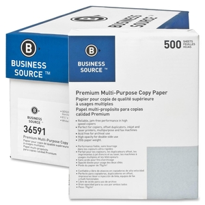 """Business Source 36591CT Multipurpose Paper,92 Bright,20lb.,8-1/2""""x11"""",5000/CT,White by Business Source"""