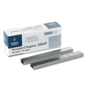 "Business Source 65649 Standard Staples,Chisel Point,1/2"" W,1/4""L,210 Strip,5000/BX by Business Source"