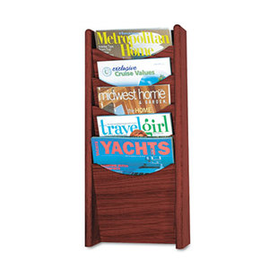 Safco Products 4330MH Solid Wood Wall-Mount Literature Display Rack, 11 1/4 x 3 3/4 x 23 3/4, Mahogany by SAFCO PRODUCTS