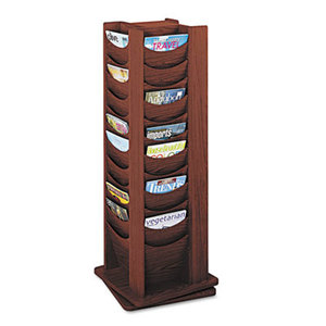 Safco Products 4335MH Rotary Display, 48 Compartments, 17-3/4w x 17-3/4d x 49-1/2h, Mahogany by SAFCO PRODUCTS