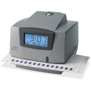 """Pyramid Time Systems M3500 Light-Duty Time Clock, Electronic, 6""""x5-1/2""""x5"""", GY/Charcoal by Pyramid Time Systems"""