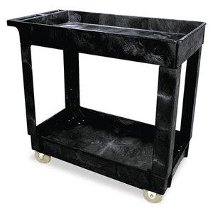 RUBBERMAID COMMERCIAL PROD. 9T6600 Service/Utility Cart, Two-Shelf, 17w x 38d x 31h, Black by RUBBERMAID COMMERCIAL PROD.