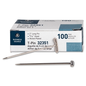 """Business Source 32351 T-Pins, 9/16"""" Head Width, 2"""" L, 100/BX, Silver by Business Source"""