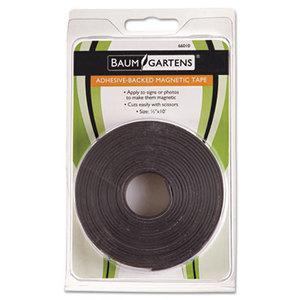"BAUMGARTENS 66010 Adhesive-Backed Magnetic Tape, Black, 1/2"" x 10ft, Roll by BAUMGARTENS"