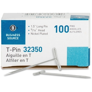 """Business Source 32350 T-Pins, 9/16"""" Head Width, 1-1/2"""" L, 100/BX, Silver by Business Source"""