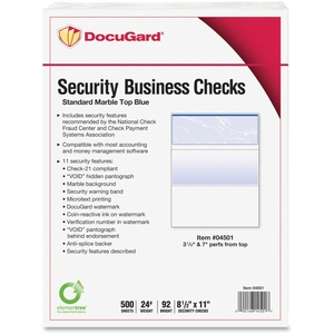 Security Business Checks, 5RM/CT, Marble Top/Blue by DocuGard