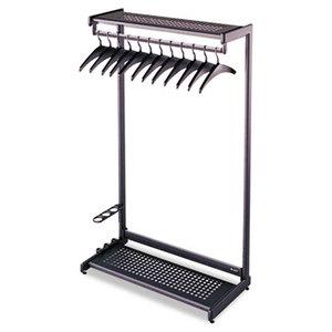 "Quartet 20222 Single-Side, Garment Rack w/Two Shelves, Eight Hangers, Steel, 24"" Wide, Black by QUARTET MFG."