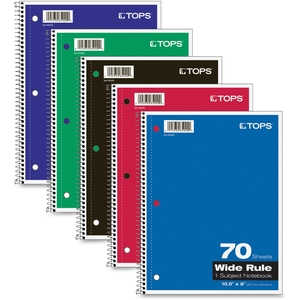 "Tops Products 65000 Wirebound Notebooks,Wide Rld,92GE,10-1/2""x8"",70 Shts,Ast by TOPS"