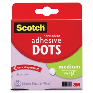 "3M 010300M Adhesive Dots, Medium Craft, .3""D, 300/BX, Clear by Scotch"