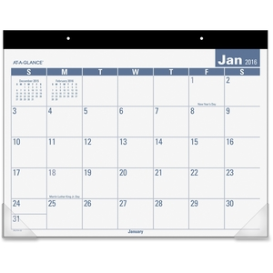 """ACCO Brands Corporation SKLP2432 E-Z Read Desk Pad, 1PPM, 12Mths, 22""""x17"""", Clear by At-A-Glance"""